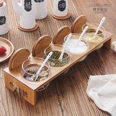 調味罐 廚房用品日式玻璃調味罐調味瓶調料盒套裝調料瓶鹽罐糖罐木架 萬聖節