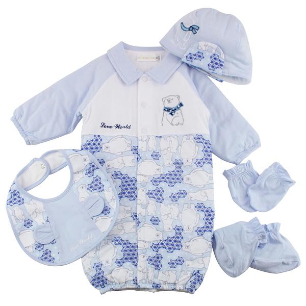 【愛的世界】純棉北極熊兩用嬰衣禮盒-藍/3~6個月-台灣製-  ---禮盒推薦
