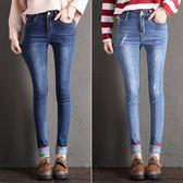 牛仔褲女長褲顯瘦正韓彈力個性鉛筆褲捲邊高腰小腳褲 巴黎时尚生活