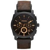 FOSSIL 星際時空三環計時運動腕錶/手錶-咖啡x金時標/45mm FS4656