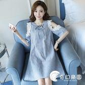 孕婦裝-夏裝連身裙新款時尚款韓版短袖條紋上衣蕾絲中長款-奇幻樂園
