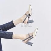 紅靖蜒包頭涼鞋女2021夏季新款仙女風高跟粗跟瑪麗珍涼鞋女 快速出貨
