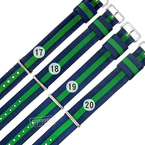 Watchband / 17.18.19.20 mm / DW 各品牌通用 時尚撞色 不鏽鋼扣頭 尼龍錶帶 藍x綠 #828-31-BGB-S
