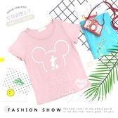 親子裝 可愛米奇浮雕字母短袖上衣 粉色 女童 男童 棉質 上衣 休閒 百搭 卡通 童裝