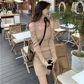 打底連身裙早春內搭2021新款修身針織裙子小心機露肩包臀吊帶短裙 韓國時尚週