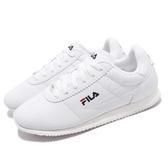 FILA 復古慢跑鞋 J903S 白 全白 鞋面皮革 阿甘鞋 復古 小LOGO 男鞋【PUMP306】 1J903S113