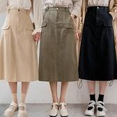 現貨-MIUSTAR 軍裝風造型口袋鬆緊腰斜紋中長裙(共3色)【NJ0172】
