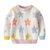 日系絨毛花朵長袖毛衣 童裝 長袖上衣 毛衣