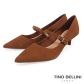 Tino Bellini巴西進口牛皮壓紋瑪莉珍低跟鞋_棕 TF8518 歐洲進口款