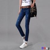 【貝貝】牛仔褲女 牛仔褲 寬鬆 直筒褲 中腰 翻邊 薄款 長褲