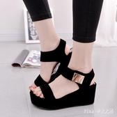 中大尺碼 夏季韓版女款休閒時尚涼鞋高跟坡跟羅馬潮鞋女鞋 HT285