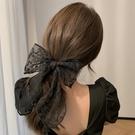 髮飾 蕾絲白色蝴蝶結馬尾夾扎頭髪少女簡約氣質髪夾森系超仙髪飾女網紅【快速出貨八折鉅惠】