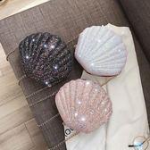 鍊條包 高級感包包洋氣網紅貝殼女時尚質感百搭鍊條斜背包小包