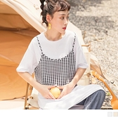 《KG1150-》高含棉拼接格紋假兩件長版短袖上衣/洋裝 OB嚴選