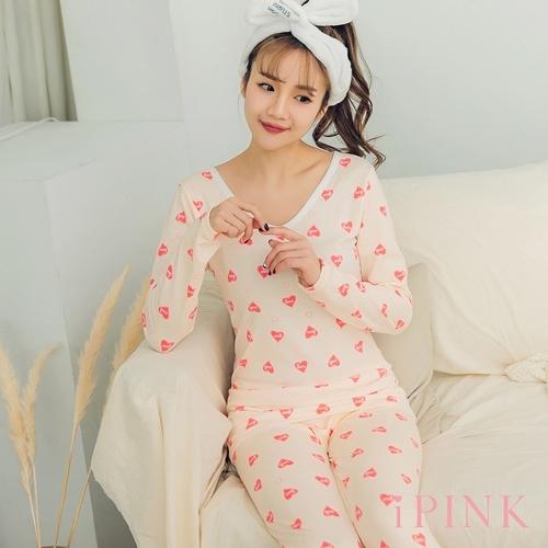 i PINK 舒柔好眠 發熱內刷毛貼身棉質居家睡衣套裝(愛心)