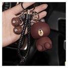 【99免運】韓國卡通可愛汽車鑰匙扣鏈圈布朗熊