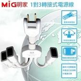 MIG明家 PS-306隨意轉1對3插轉接式電源線15A 1入 在家也