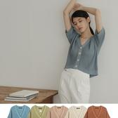 Queen Shop【02010978】粗針織排釦設計上衣 五色售*現+預*