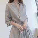 襯衫洋裝 輕熟溫柔風連身裙女夏季收腰顯瘦顯高氣質襯衫長裙子女裝-Ballet朵朵