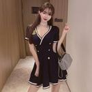 洋裝 小禮服 夏季新款夜店女裝性感連身裙低胸v領夜總會KTV裙子足療技師工作服 韓風