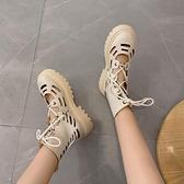 短靴 英倫風鏤空內增高馬丁靴女夏季薄款短靴酷百搭透氣靴子-Ballet朵朵