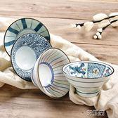 陶瓷碗家用吃飯餐具米飯碗小湯碗手繪高腳碗創意斗笠碗喇叭碗      艾維朵