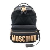 【台中米蘭站】全新品 MOSCHINO 新款品牌logo菱格縫線帆布後背包(黑)