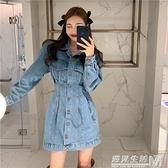 牛仔裙洋裝女秋冬新款復古收腰顯瘦百搭設計感修身長袖裙子