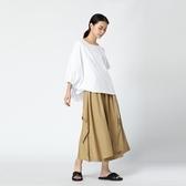 T恤-短袖純色抽繩繫帶不對稱衣袖女上衣2色73th4【時尚巴黎】