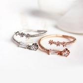 戒指 925純銀 鑲鑽-精緻優雅生日情人節禮物女開口戒2色73dv9[時尚巴黎]
