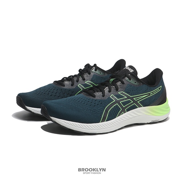 ASICS 慢跑鞋 GEL-EXCITE 8 藍 螢光綠 輕量 男 (布魯克林) 1011B036415