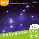 電池版 迷你聖誕燈 紫光銅線燈串25燈10CM燈距3號電池×3顆(未附)(A-54-14-03)