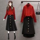 L-4XL大碼套裝兩件套~大碼女裝胖mm秋冬裝高領針織毛衣半身裙套裝4F109愛尚布衣