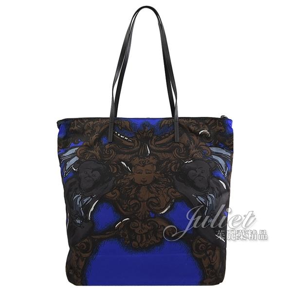 茱麗葉精品【全新現貨】PRADA 1BY300 現代風尼龍皮飾邊托特包兩件組.黑藍