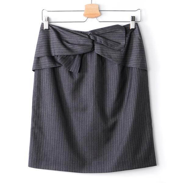 【MASTINA】條紋蝴蝶結扭結包臀裙-灰 秋冬嚴選
