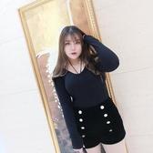 MCR大碼女裝針織打底衫胖MM甜美長袖T恤顯瘦性感V領綁帶針織衫 韓語空間