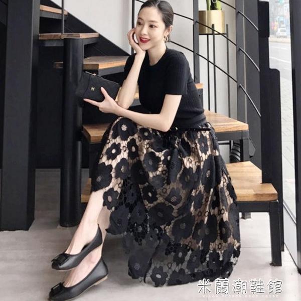 蕾絲半身裙 2021年春款夏很仙的法國小眾a字一片式中長款網紗蕾絲半身裙子女 快速出貨