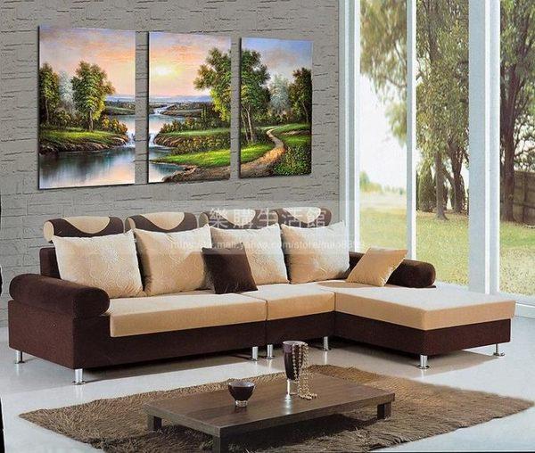 客廳裝飾壁畫/無框畫-山水畫【30*40*0.9三幅】LG-0391003