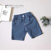 數字英文三色織帶後口袋平織褲 車線 復古 藍色 彈性 哎北比童裝