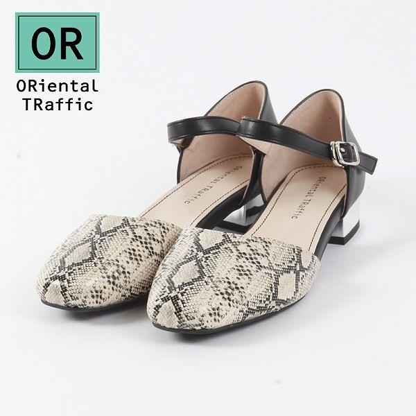 【ORiental TRaffic】優雅方頭繞踝瑪麗珍鞋 蛇紋黑米
