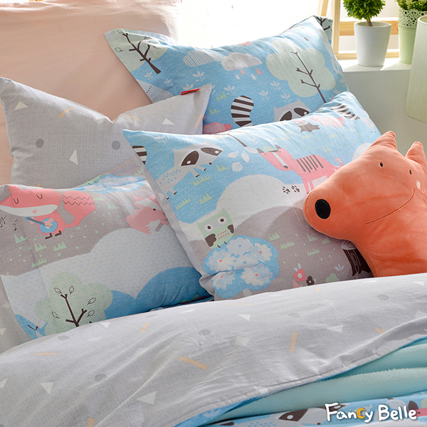 義大利Fancy Belle《森林野餐趣》雙人純棉防蹣抗菌吸濕排汗兩用被床包組
