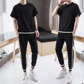 男士夏季韓版修身短袖t恤套裝男生潮流半袖體恤夏裝休閒運動衣服