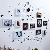 照片牆  11框組合照片牆鐘表款相框牆 創意組合懸掛相片牆送蝴蝶貼HPXW