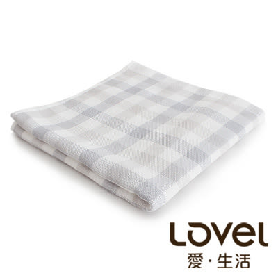 里和Riho LOVEL日系簡約雙色小格雙面棉紗毛巾 34x74cm 3色可選 哺乳巾 紗布巾
