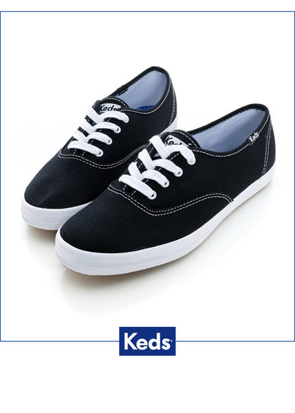 KEDS 品牌經典帆布鞋 黑色 綁帶│平底 W110001 女鞋