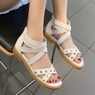 涼鞋.MIT個性時尚鉚釘交叉繞踝平底羅馬涼鞋.白鳥麗子