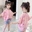女童短袖上衣 女童短袖t恤夏裝洋氣兒童夏季上衣中大童正韓時髦寬鬆棉-Ballet朵朵