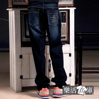 MIT騎士刺繡刷色伸縮中直筒牛仔褲(深藍)● 樂活衣庫【P672-1】