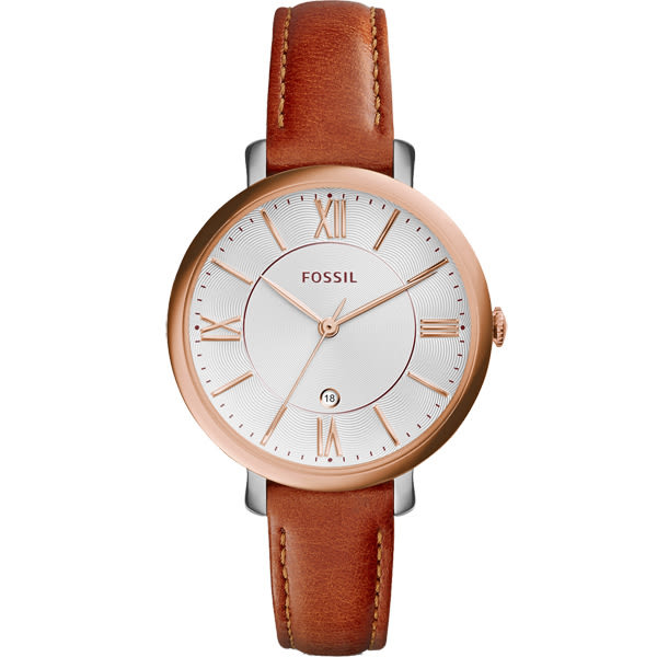 FOSSIL 羅馬風尚優雅皮革腕錶-玫瑰金框x咖啡色皮