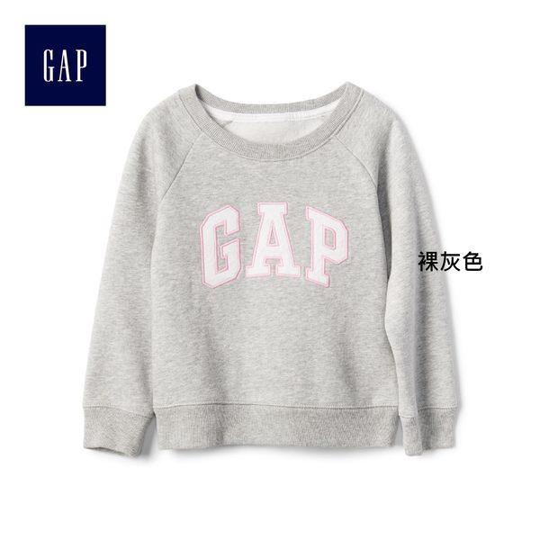 Gap女嬰幼童 logo兒童圓領休閒上衣 寶寶長袖童裝 259408-裸灰色
